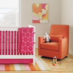 Nursery Gliders: Orange Upholstered Monte Luca Glider and Ottoman in Rockers and Gliders