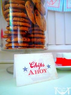Nautical Party moms chocolate chip cookies  Cookies and Milk-Snack time would be a cute way to tie in the theme-JC