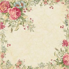 Ecru Checked Paper With Pink Rose Border