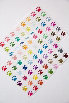 96 paw print stickers, vet stickers, pet stickers, dog stickers, cat stickers, life planner stickers, scrapbook reminder, animal stickers