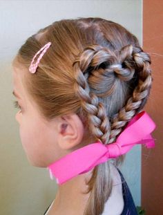 Cute little girl hairstyle for Valentine day or crazy hair day Pretty Hairstyles, Braided Hairstyles, Heart Hairstyles, Hairdos, Children Hairstyles, Funny Hairstyles, Glamorous Hairstyles, Easy Little Girl Hairstyles, Toddler Hairstyles
