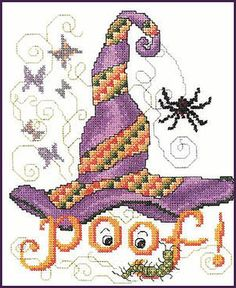 free halloween cross stitch patterns online | This Whimsical design from Ursula Michael designs features a witches ...