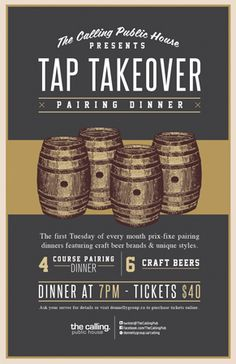 Tap Takeover Dinner Series - Tuesday, October 2nd