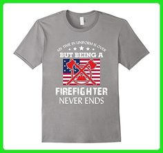 Mens My Time Is Over Firefighter Never End Retired Firefighters XL Slate - Careers professions shirts (*Amazon Partner-Link)