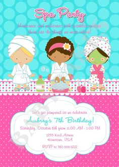 spa party invitations free