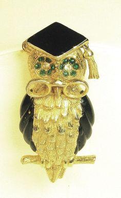 Vintage Hattie Carnegie Black Enamel Wise Old Owl Pin