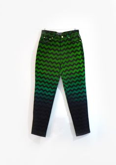 Vintage Versace Jeans Couture green chevron zigzag ombre cotton jeans sz34 - pinned by pin4etsy.com