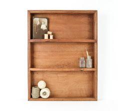 Rustic Oak Shelf / Wooden Shadow Box by tawneyvintage on Etsy, $42.00