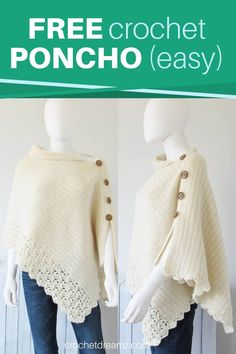 Free Crochet Poncho Pattern, Beginner Level - Crochet Dreamz - Crochet Cardigans, Ponchos and Sweaters - This knit-look poncho crochet pattern is easy enough for beginners. The beautiful poncho features a - Poncho Au Crochet, Crochet Scarves, Crochet Clothes, Crochet Stitches, Knit Crochet, Crochet Vests, Crochet Cape, Crochet Geek, Crochet Edgings