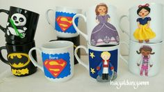 Polymerclay mug,handmade , Polimerkil kupa,el yapımı kişiye özel hediyelik, Batman mug, Little prince mug, Prenses sofia kupa,pamuk prenses kupa,