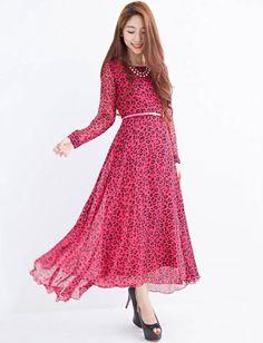 Fashion Forward Leopard Printed Long Sleeve Dress, Shop online for $22.40 Cheap Dresses code 720092 - Eastclothes.com