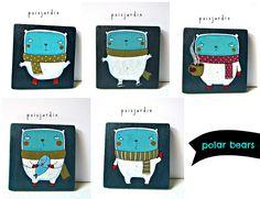 Handpainted wooden magnets by poisjardin.  www.facebook.com/poisjardin