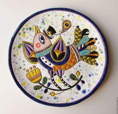 """Декоративная посуда ручной работы. Ярмарка Мастеров - ручная работа. Купить Декоративная тарелка """"Птаха"""". Handmade. Комбинированный, птички на ветке Ceramic Clay, Ceramic Painting, Scandinavian Folk Art, Madhubani Art, Circle Art, Plate Art, Clay Design, Hand Painted Ceramics, Metal Art"""