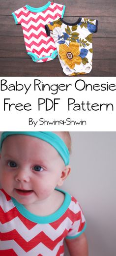 Baby Ringer Onesie {Free PDF Pattern} would be cute for a baby shower gift! Baby Clothes Patterns, Kids Patterns, Sewing Patterns Free, Sewing Tutorials, Free Pattern, Sewing Ideas, Free Baby Patterns, Pattern Ideas, Dress Patterns