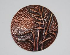 Antiqued Copper Dapped Pendant with Reeds Bamboo