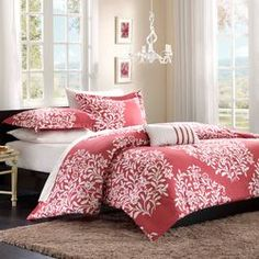 Mi-Zone Folklore Raspberry Big Print Comforter Set, Discover home design ideas, furniture, browse photos and plan projects at HG Design Ideas - connecting homeowners with the latest trends in home design & remodeling Teen Girl Bedding, Teen Girl Bedrooms, Dorm Bedding, Kohls Bedding, College Comforter, Bedroom Comforters, Nursery Bedding, Girl Nursery, Bed Sets