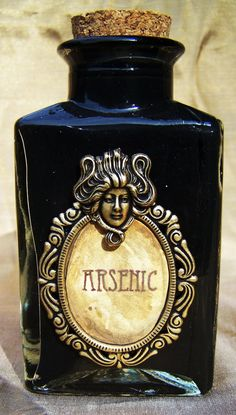 """In the Victorian era, """"arsenic"""" (""""white arsenic"""" or arsenic trioxide) was mixed with vinegar and chalk and eaten by women to improve the complexion of their faces, making their skin paler to show they did not work in the fields. Arsenic was also rubbed into the faces and arms of women to """"improve their complexion"""".  Arsenic Poison Bottle by doctormorose on Etsy"""