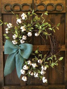 Cotton Wreath/Cotton Boll Wreath/Farmhouse Wreath/Year Round Wreath/Everyday Wreath/Front Door Wreath/Natural Burlap Bow by HelenasHome on Etsy Diy Wreath, Grapevine Wreath, Burlap Wreath, Front Door Decor, Wreaths For Front Door, Front Doors, Cotton Decor, Cotton Crafts, Cotton Wreath