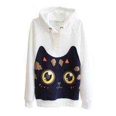 Cat Pattern Long Sleeve Hooded Pullover ($21) ❤ liked on Polyvore featuring tops, sweaters, beautifulhalo, hoodies, jackets, cat print top, cat tops and long sleeve tops