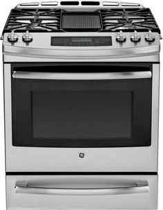 GE PGS920SEFSS 30 Inch Slide-in Gas Range with Convection, Self-Clean, Reversible Grill-Griddle, 5.6 cs. ft Oven Capacity, 20, 0000BTI Tri-Ring Burner, Continuous Grates, 5 Sealed Burners, Simmer Burner, Warming Drawer, Star-K Sabbath Mode and ADA Compliant