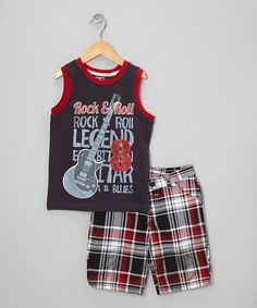 Take a look at this Black Rock & Roll Tank & Shorts - Boys by Little Rebels on #zulily today!