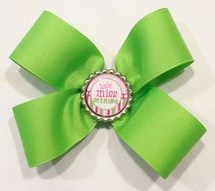 Girl Green Hair Bow by LittleAsAccessories on Etsy