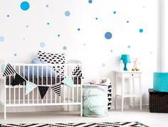 Blaue Wandsticker Punkte   25 Stück · Babyzimmer JungeWandtattoo ...