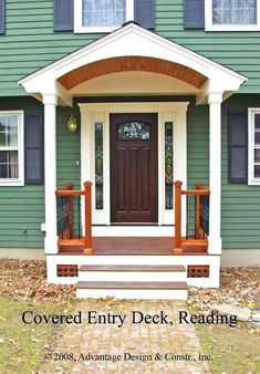 The 14 Perfect Front Door Porch Design Ideas Front Door Overhang, Front Porch Columns, Front Door Porch, Small Front Porches, Front Porch Design, Porch Roof, Front Entry, Porch Entrance, Entrance Ideas