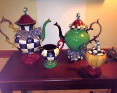 Painted Tea Set // Painted Silver Tea Set // Whimsical Painted Tea Set // Custom Painted Tea Set hand painted home decor Mackenzie Childs Inspired, Mckenzie And Childs, Tee Set, How To Clean Silver, Silver Tea Set, Teapots And Cups, Decoupage, Chocolate Pots, Custom Paint