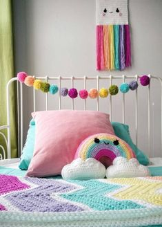Rainbow Room, Rainbow Nursery, Party Garland, Pom Pom Garland, Girls Bedroom, Bedroom Decor, Minimalist Nursery, Diy Zimmer, Unicorn Bedroom