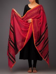Red-Black Abstract Khadi Block Printed Cotton Dupatta by Jaypore Kurta Designs, Blouse Designs, Suits For Women, Clothes For Women, Indian Wear, Indian Style, Indian Textiles, Desi Clothes, Black Abstract