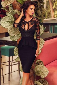 Dear Lover Three Quarters Sleeve Embroidery Black Peplum Midi Dress Sexy Ladies embroidered top with the ruffles dresses Elegant Dresses For Women, Trendy Dresses, Club Dresses, Sexy Dresses, Beautiful Dresses, Evening Dresses, Party Dresses, Bandage Dresses, Dresses 2016