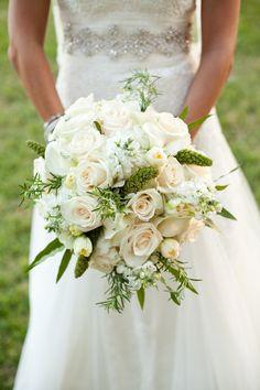 Lush ivory rose wedding bouquet with pops of green {Verbena Floral Design - Austin-area Florist}