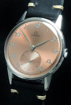 aa6b6cd60a0 37.5mm Omega Oversize with salmon colored dial 30t2 vintage - Vintage  Portfolio