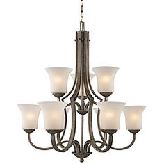 @Overstock - Elegantly illuminate your home decor with a chandelier    Lighting features an antique silver finish   Hanging chandelier offers white linen glass shades   http://www.overstock.com/Home-Garden/Antique-Silver-9-light-Chandelier/3915360/product.html?CID=214117 $235.99