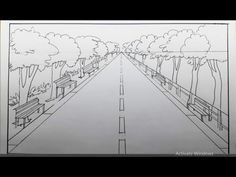 See How to Draw A Simple One-Point Perspective Landscape of A Road and Trees With A Sunset in this Simple Art Tutorial For Beginners. Get new Video for Subsc. One Perspective Drawing, 1 Point Perspective, Literacy Quotes, Road Drawing, Middle School Art, High School, 5th Grade Art, Bible Coloring Pages, Art Lessons Elementary