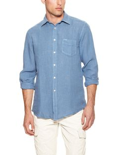 Linen Sport Shirt by Faconnable Tailored Denim at Gilt