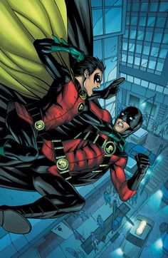Here's a another great piece.Robin Vs Red Robin from DC Comics. Dc Comics, Nightwing, Batgirl, Robins, Tim Drake Red Robin, Batman Universe, Dc Universe, Univers Dc, Stephanie Brown