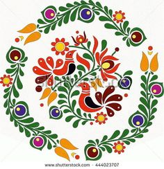 Hungarian Embroidery Ideas Hungarian Vector ornament by tupia, via ShutterStock - Hungarian Embroidery, Folk Embroidery, Learn Embroidery, Embroidery Stitches, Embroidery Patterns, Folk Art Flowers, Flower Art, Tole Painting, Fabric Painting