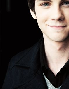 Logan Lerman  I love how you can see how bright his eyes are in this picture.