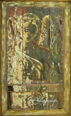 Anjo em madeira de demolição