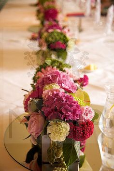 Summer Wedding Hot Pink and Lime top table arrangement #flowers