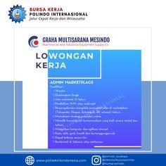 Info lowongan pekerjaan Graha Multisarana Mesindo Terbit Juli 2020   info lebih lanjut dan bisa menembus dunia kerja, cek instagram kami : lokerbursakerjapolindo Surabaya, Industrial, Industrial Music