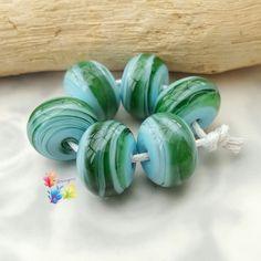 Lampwork Glass Spacer Beads Caribbean by GlitteringprizeGlass  New! Caribbean Spacers!  #glitteringprizeglass #lampwork #jewelrydesign #green #jewelrydesign #jewellerydesign #handmade #flameworking
