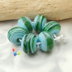 Lampwork Glass Spacer Beads Caribbean by GlitteringprizeGlass  New! Caribbean Spacers!  #glitteringprizeglass #lampwork #jewelrydesign #green #jewelrydesign #jewellerydesign #handmade #flameworking