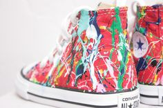 d8b1ccdcbb41c6 Kid s LowTop or HighTop Splatter Painted Converse or Vans Sneakers Size  10.5-3