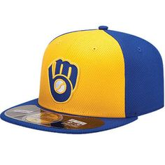 Milwaukee Brewers New Era On Field Diamond Era 59FIFTY Fitted Hat - Gold  Royal 1185dd223d17