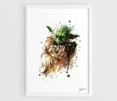 This is Yoda Star Wars Movie Poster Art Print of my original Watercolor Painting.  See more Art Print Star Wars Posters:
