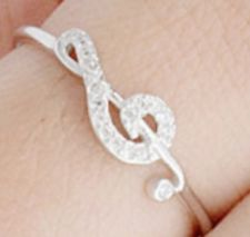 Sz 6 NEW Boxed ~ Sideways Treble Clef Music Note 100% Solid Sterling Silver