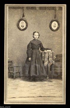 Unusual Civil War Era 1860s CDV Sad Girl Poses with Photos of Parents   eBay